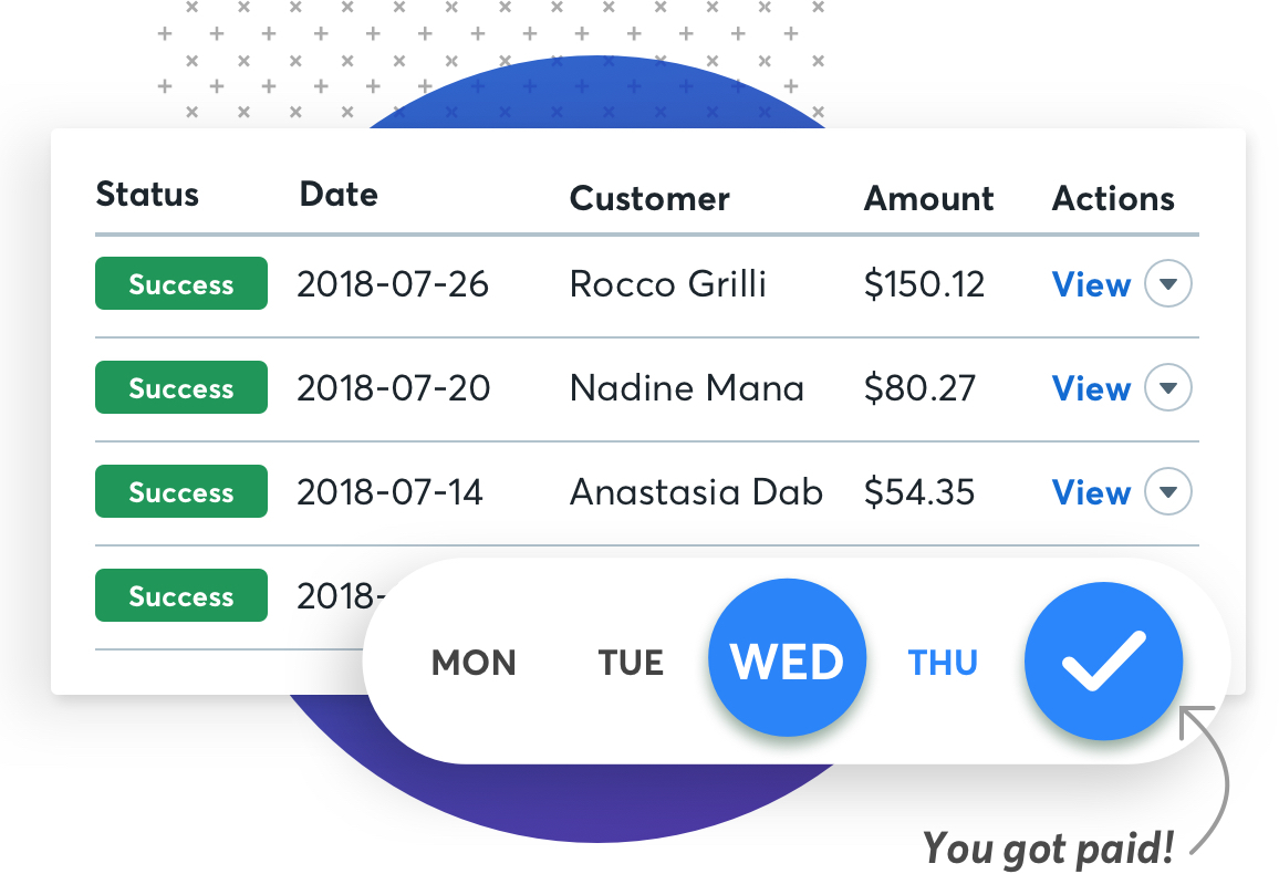 Screenshots of Wave's payment solution