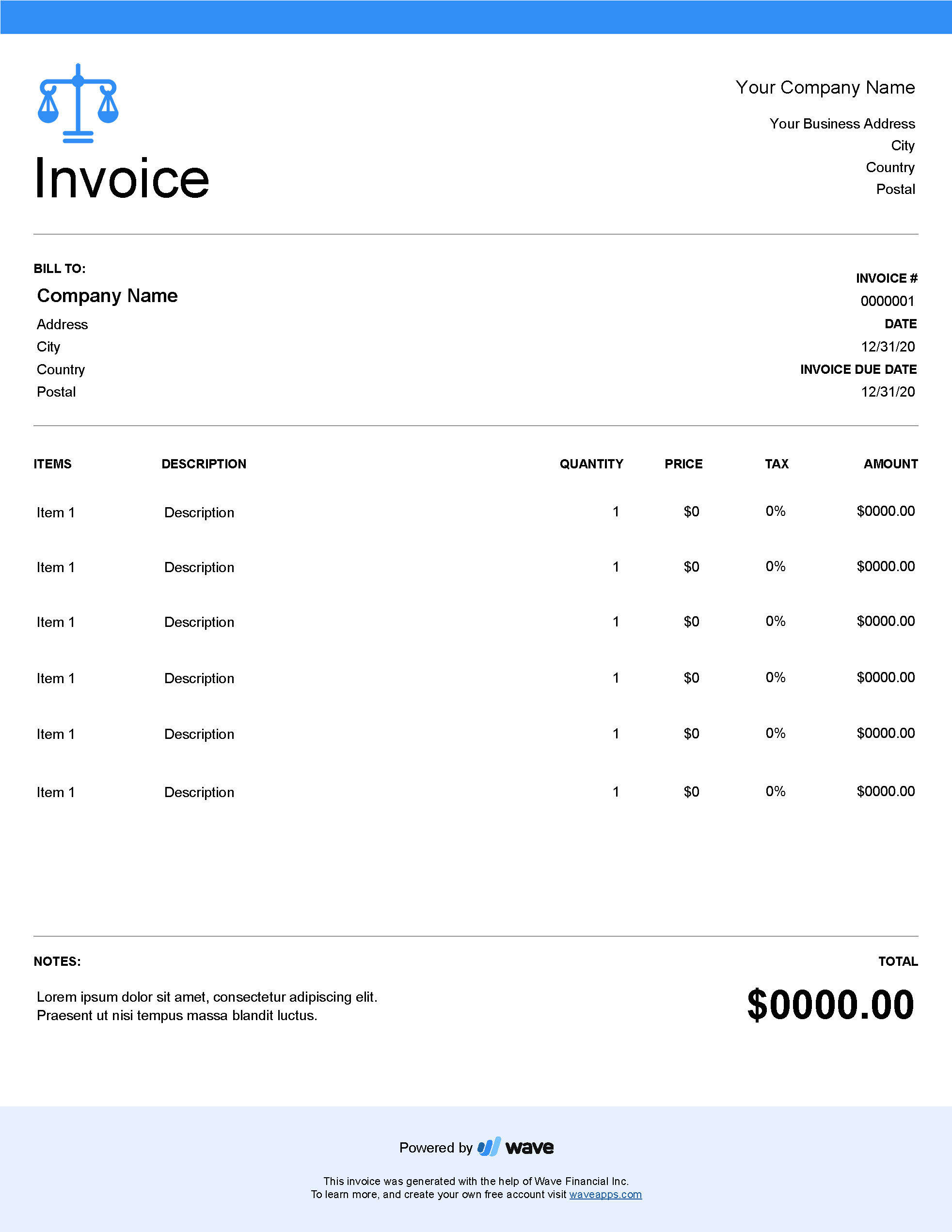 Attorney invoice template - Wave Invoicing