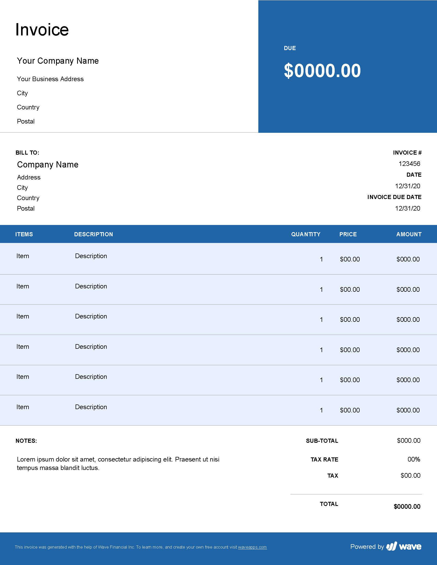 Auto Repair Invoice Template Wave Invoicing
