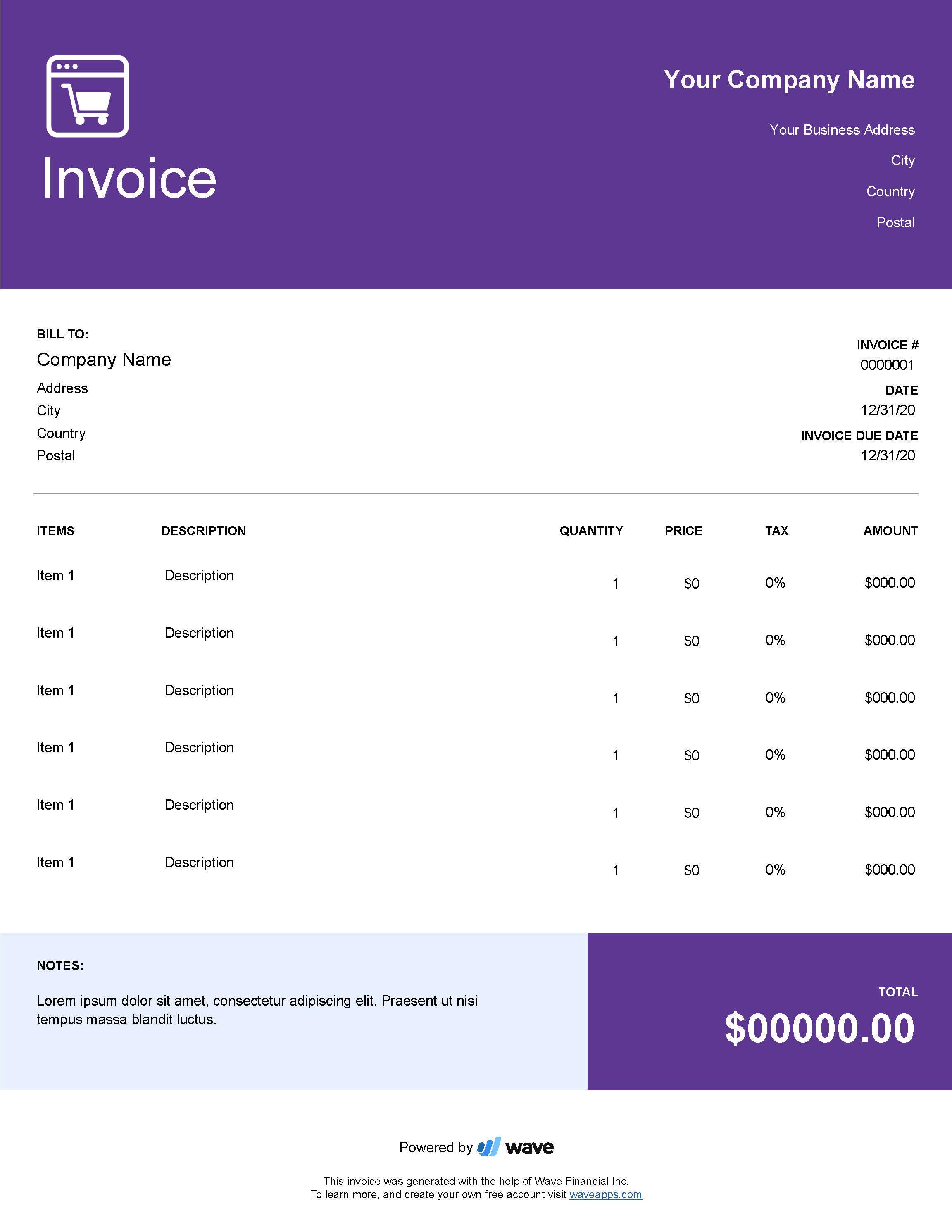 E Commerce Invoice Template Wave Invoicing