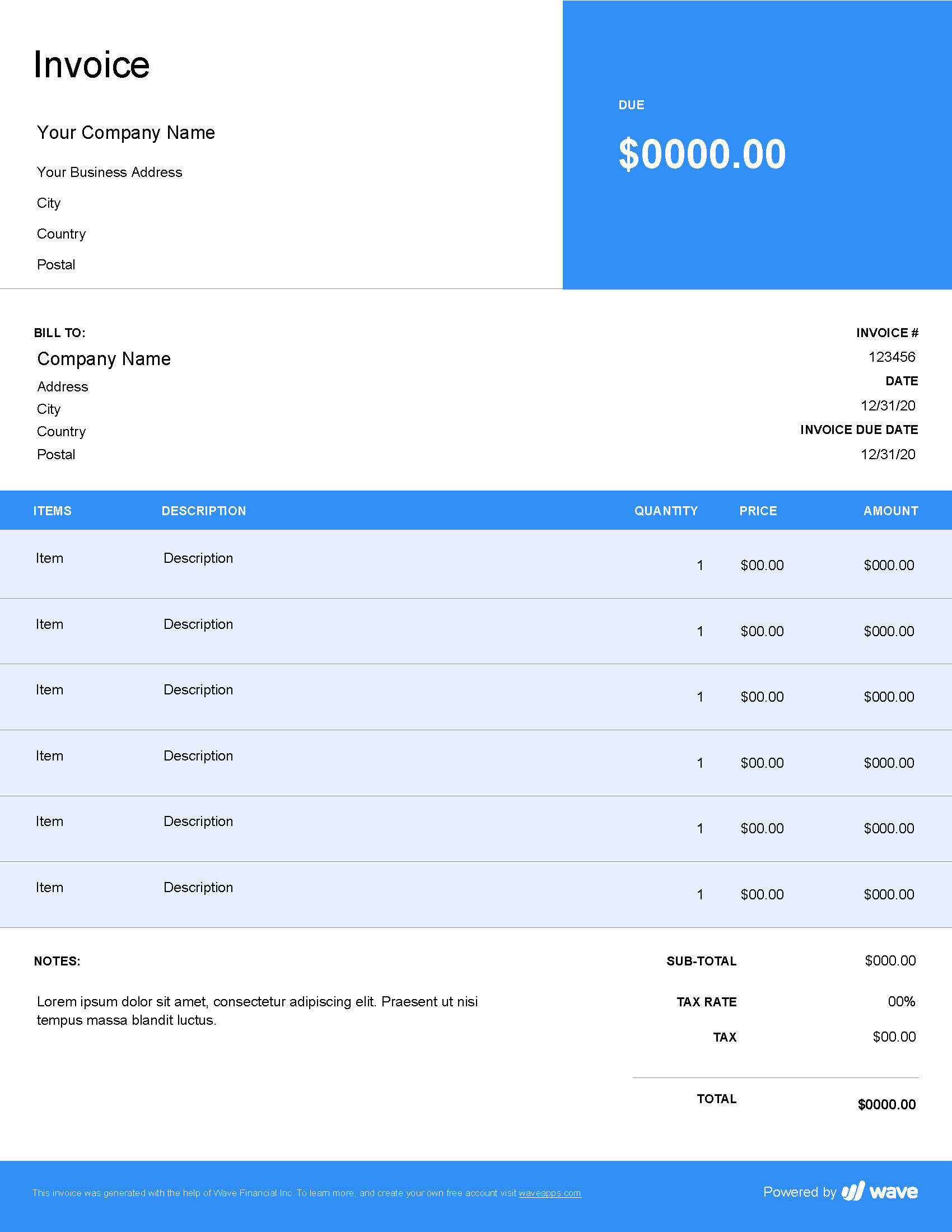 Freelancer Invoice Template Wave Invoicing