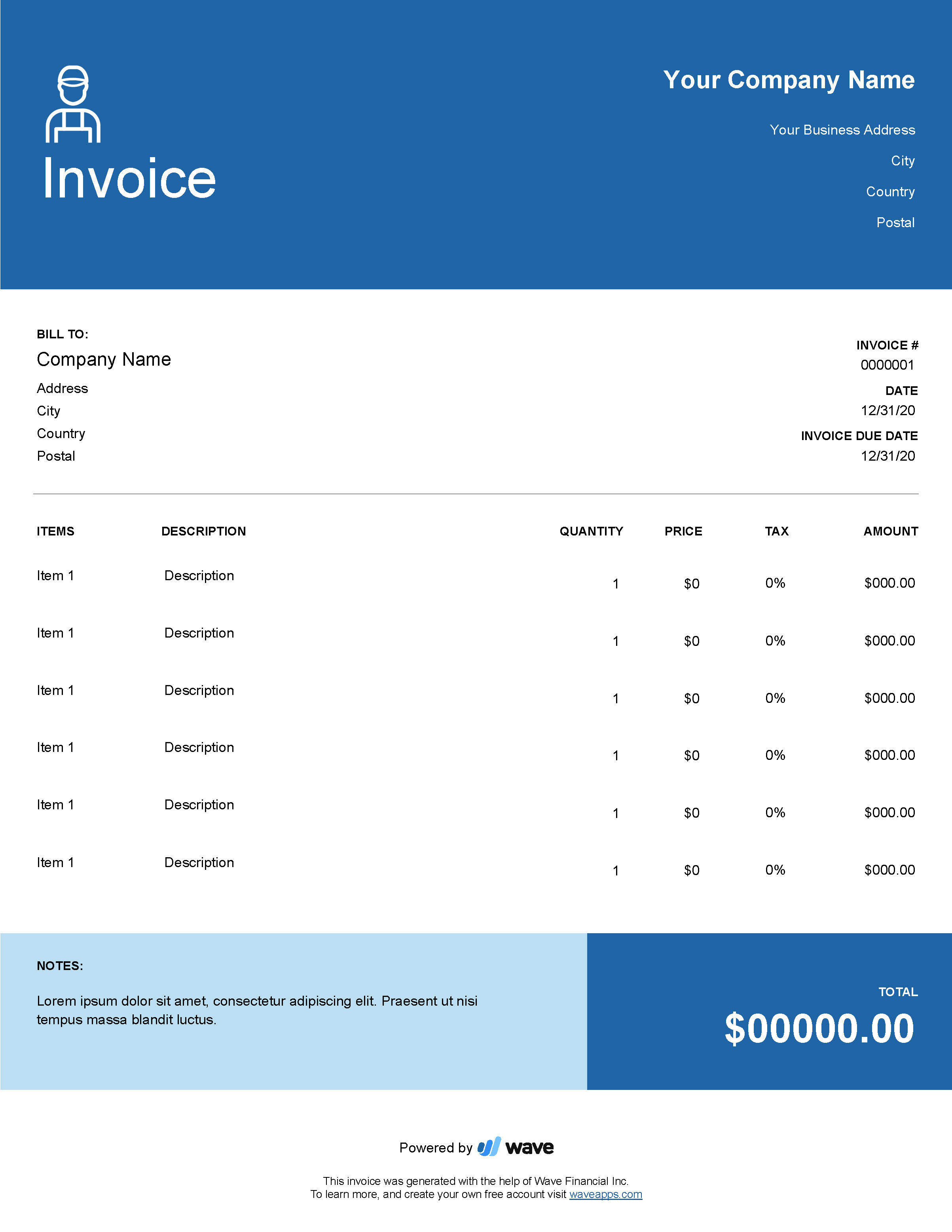 Handyman Invoice Template Wave Invoicing