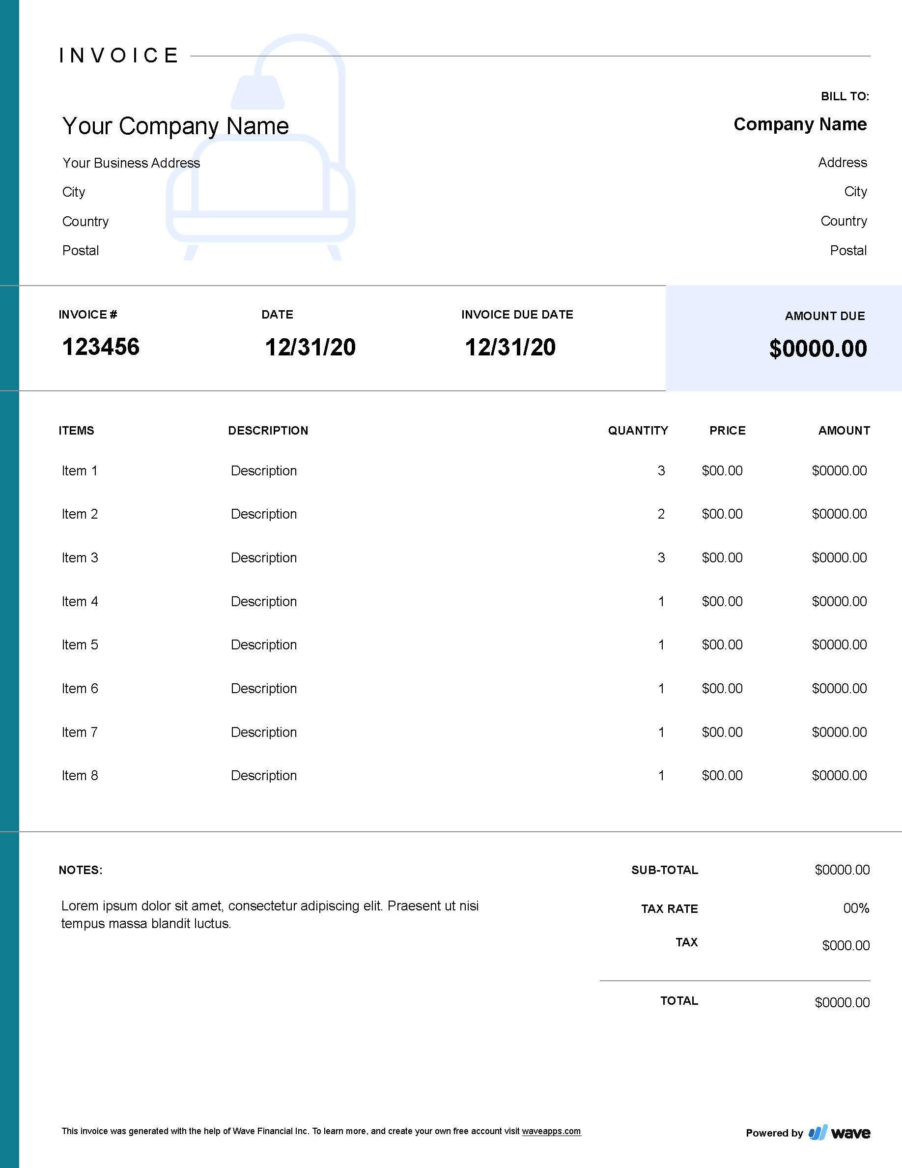 Interior Design Invoice Template Wave Invoicing