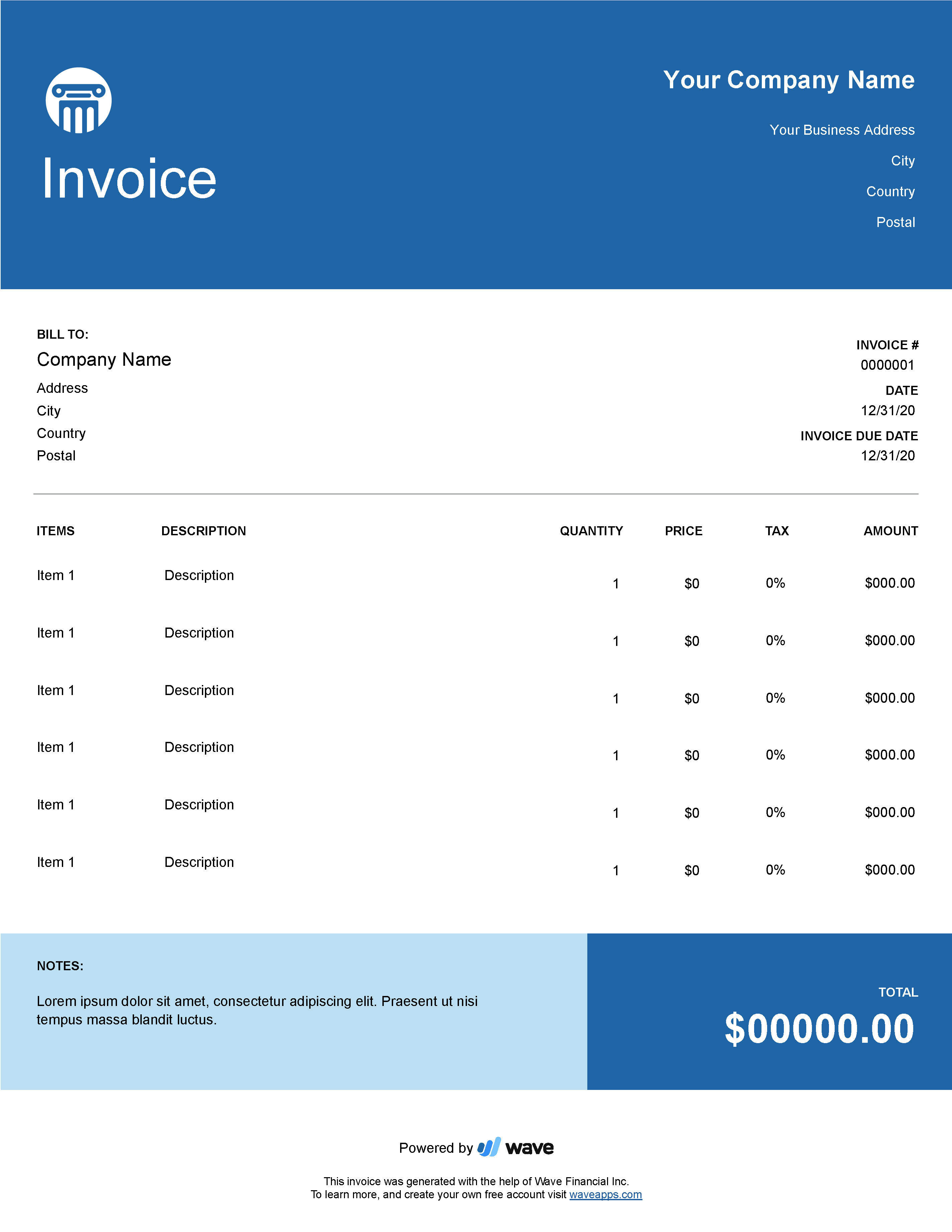 Law Firm Invoice Template Wave Invoicing