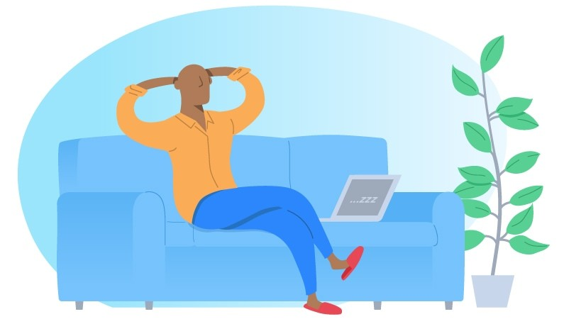Man sitting on couch in front of tv