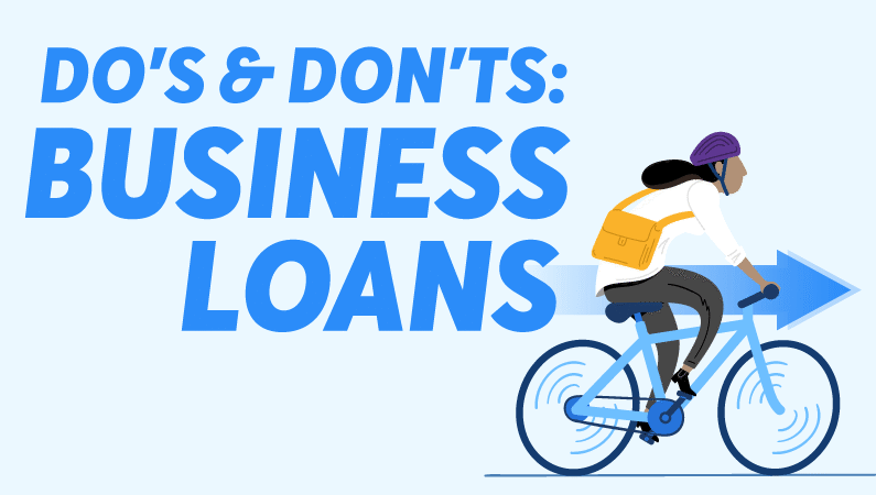 Woman biking towards business loans