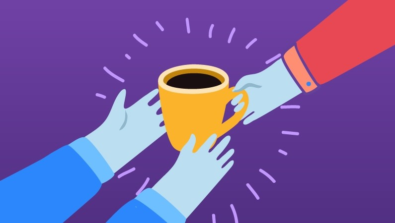 illustration of two people holding a coffee cup together
