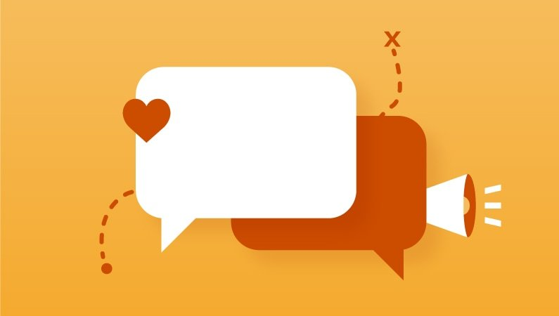 Two speech bubble icons representing information sharing and conversation.