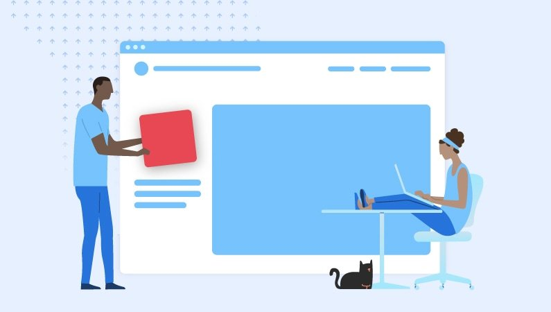 illustration of people creating a website