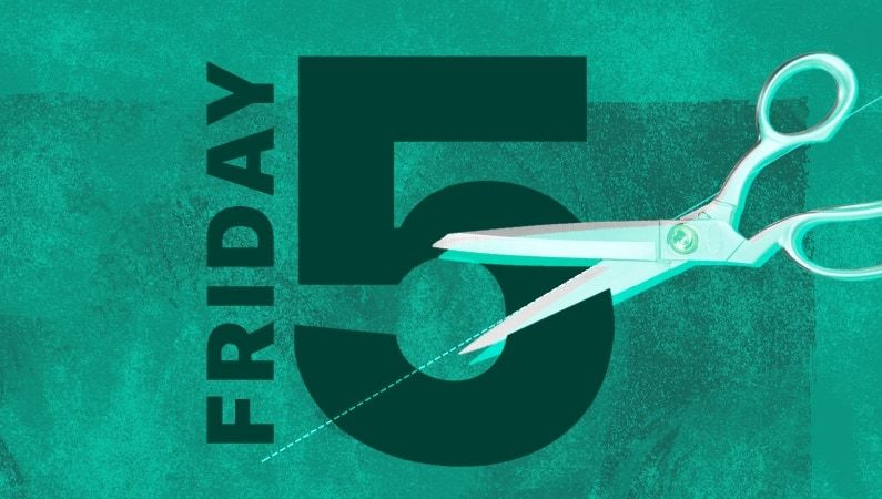 "illustration of a pair of scissors cutting the words ""friday 5"""