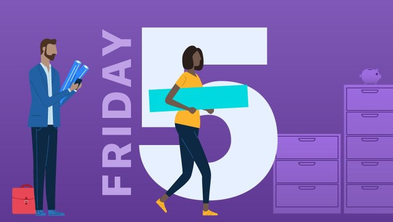 "illustration of people working in an office with the text ""friday 5"""