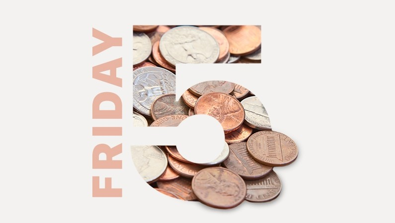 Test That Says Friday 5 With A Photograph Of Pennies