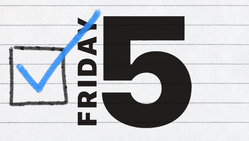 "box with a checkmark and the text ""friday 5"""