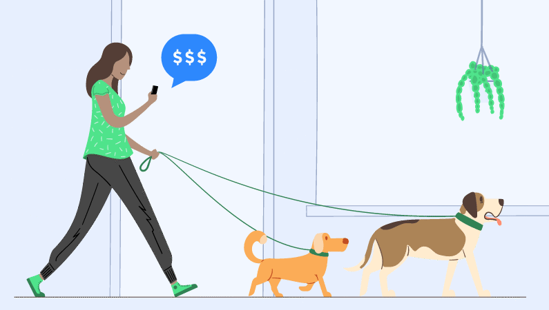 A person walking two dogs and getting a payment notification on their phone