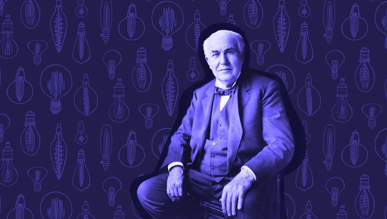 photo of Thomas Edison with lightbulbs in the background