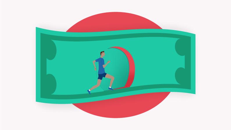 man running into dollar bill