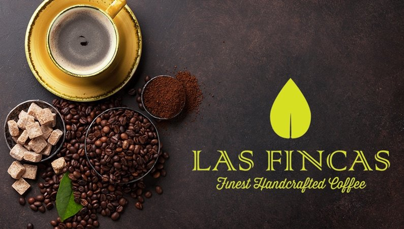 photo of coffee beans and cup with the company name Las Fincas