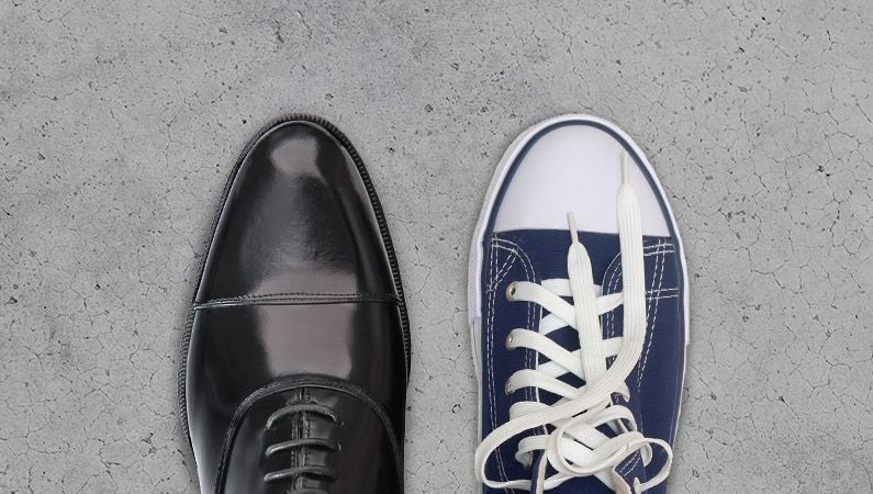 Dress shoe and casual shoe side-by-side