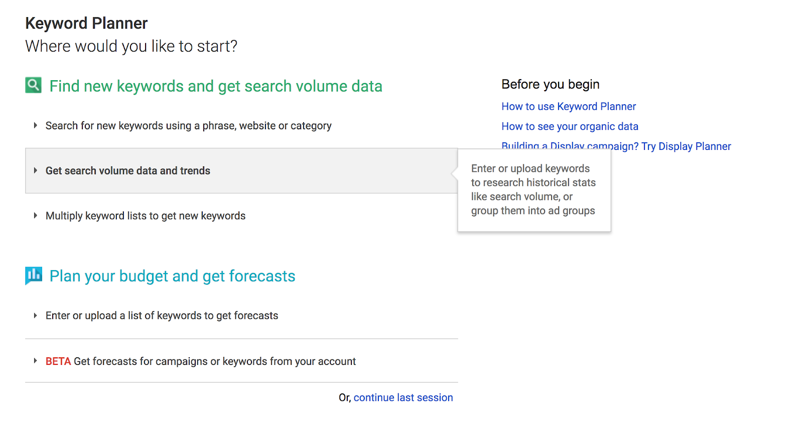 Keyword Planner Tool screenshot