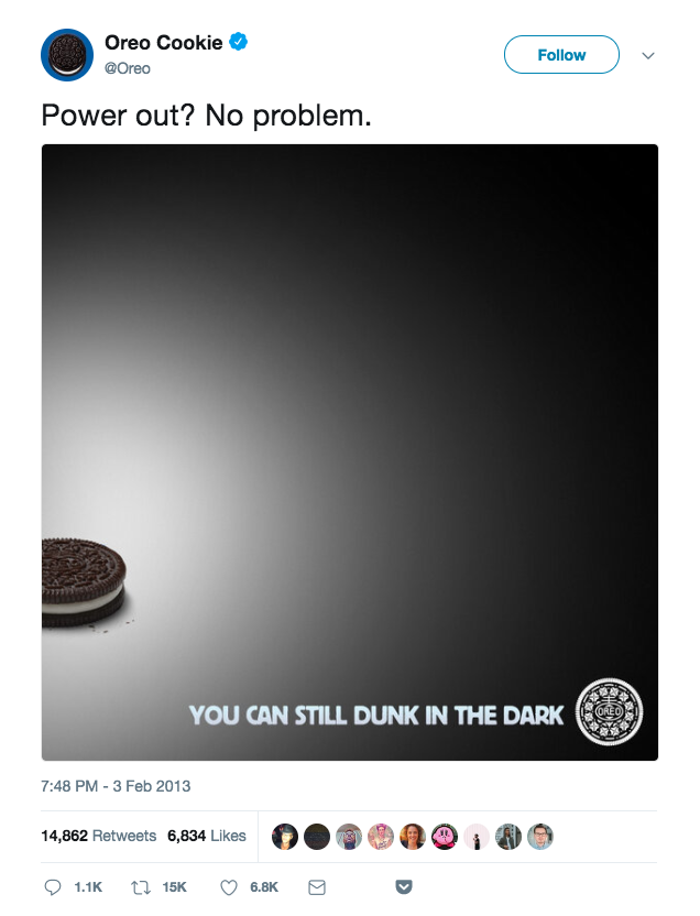 screenshot of oreo facebook post