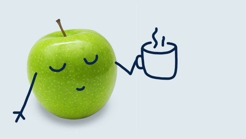A cartoon apple drinking tea