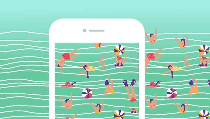 Illustration of people swimming as a background on a phone