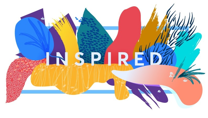 "colourful illustration with the text ""inspired"""